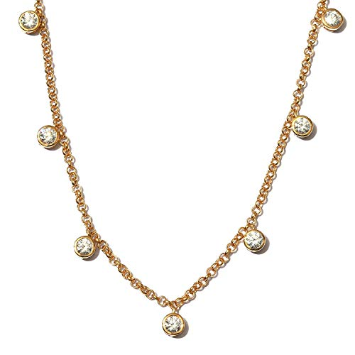 J Francis Station Necklace Made with Swarovski Zirconia for Women in 14ct Gold Plated 925 Sterling Silver Size 18 Inches, TCW 3ct