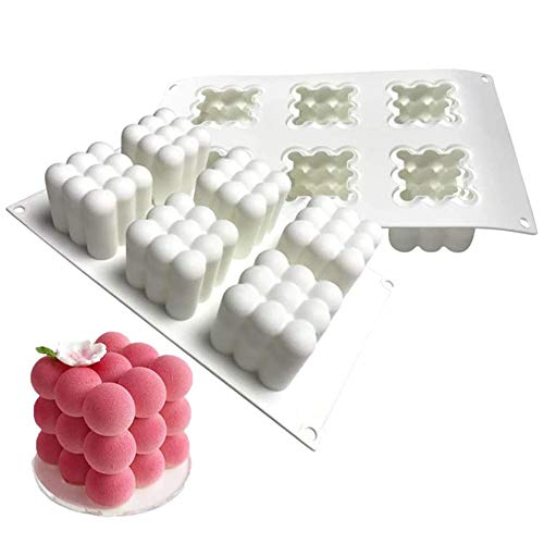 Apofly Silikon Formen 3D DIY Kerzen Mold Cube Antihaft-Kugel-Form-schokoladenkuchen Zu Machen Backen Handgemachte Werkzeug Weiß 6 Cavity 3.14x2.36 Inch Für Handwerk Fondant Duftkerze Soy Wachs Seife