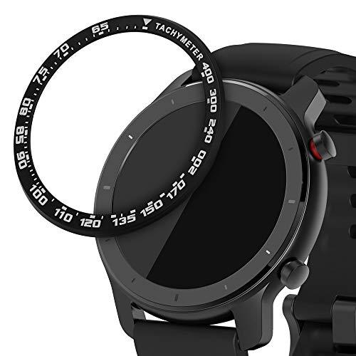 kwmobile Anillo Protector Compatible con Huami Amazfit GTR (42mm) - Bisel con taquímetro para smartwatch rastreador en Negro