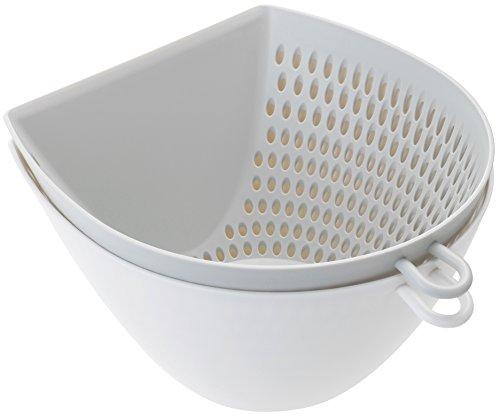 曙産業 ザル ボウル セット ホワイト L 日本製 まな板の上で切った食材をサッとすくってこぼさず移動 流水にさらしても食材があふれない 目盛付き 引っ掛けフック付き 電子レンジ対応 チリトリ ザルボウル MZ-3525