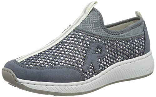 Rieker Damen Frühjahr/Sommer N5554 Sneaker, Blau (Jeans/Blue-Silver/Bleu-Silver 15), 42 EU
