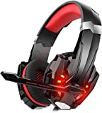 DIZA100 Gaming Headset for PS4 Xbox One PC, Gaming Headphones with Microphone, LED Light Bass Surround, Aluminium Housing for Computer, Laptop, Mac, Nintendo, Switch Games
