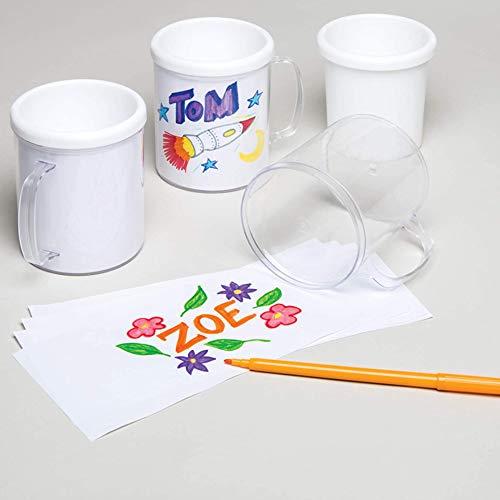 Baker Ross Diseña una Taza (paquete de 2) para que los niños pinten, decoren y personalicen para actividades de manualidades (E6817)
