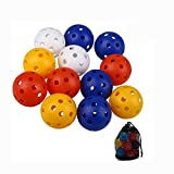 Golf Practice Training Sports Balls 40 Pcs Golf Training Distance Balls With Hole Airflow Golf Colorful Perforated Plastic Balls for Swing Practice, Driving Range,Pets Children Pool Balls Toys