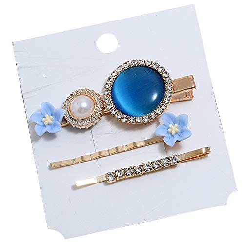 Dontdo Lot de 3 épingles à cheveux simples avec fleur ronde imitation opale et strass incrustés