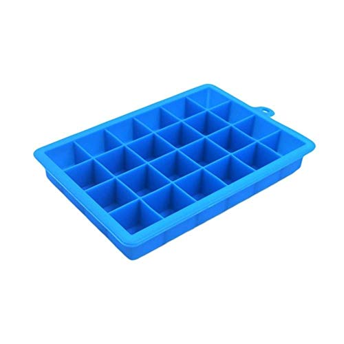QAZ 24 Grid Silicone Ice Cube Tray Ice Cube Mold Ice Maker Box With Lid ube Grid MoldContainers,Blue