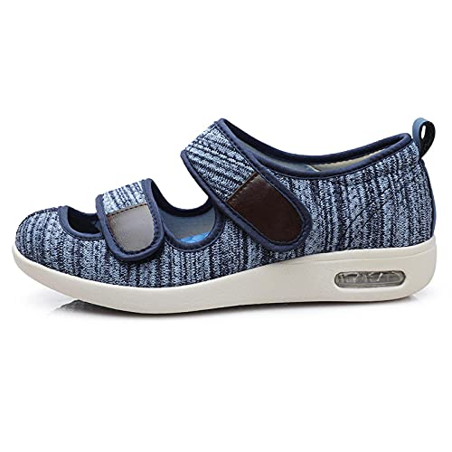 CCSSWW Zapatos Anchos Hinchados para Hombres,Zapatillas Transpirables para Caminar-Azul Claro_48,Zapatos De Punta Abierta Ajustables