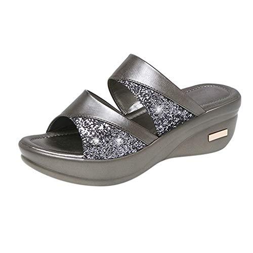 Damen Slingback Peep Toe Slip On Keilsandalen mit Strass Dicke Sohle Plateau Beach Strandsandalen Sommer Outdoor Sandals(Silber/Silver,39)