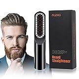 Lisseur Barbe Sans Fil, VLOXO Brosse Lissante avec Écran LCD et USB Rechargeable Peigne Lisseur Portable Ionique Anti-brûlure pour Barbe et Cheveux Température Réglable avec Chargeur Adaptateur