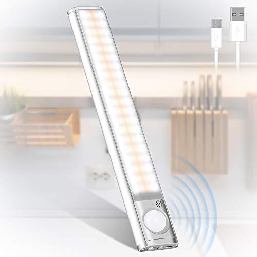 Luz Armario, 160 LED Luces con Sensor de Movimiento, USB Recargable Luz Nocturna, 3 Modos Lámpara de Armario con Tira Magnética, para Armario, Pasillo, Cocina, Escalera, Garaje, Sótano y Emergencias