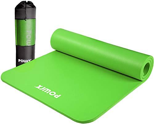POWRX Gymnastikmatte Premium inkl. Trageband + Tasche + Übungsposter GRATIS I Hautfreundliche Fitnessmatte Phthalatfrei 190 x 60, 80 oder 100 x 1.5 cm I versch. Farben Yogamatte (Grün, 190 x 100 x 1.5 cm)