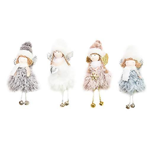 HEALLILY 4 Peças de Decoração de Natal de Pelúcia Sino Anjo Boneca Pingente de Ãrvore de Natal Enfeites Pendurados Artesanato de Natal Decorações de Elfos para Festas de Fim de Ano (Cores
