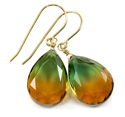 14k Yellow Gold Filled Bi Color Simulated Tourmaline Green Burnt Orange Earrings Faceted Teardrops Simple Drops 1.4'