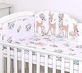 5 Piezas Juego de cama Bebé Protector Edredón Ropa de cama para cuna 120 x 60 cm Bambi Deers Corzos Blancos