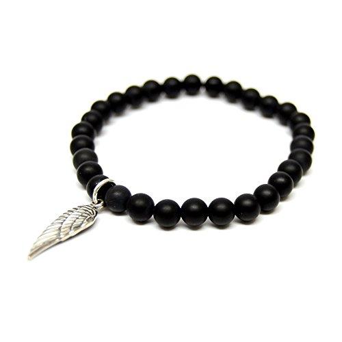 Linus Jade palla, Bracciale Black Pearls in argento Sterling 925 con onice Nero ali