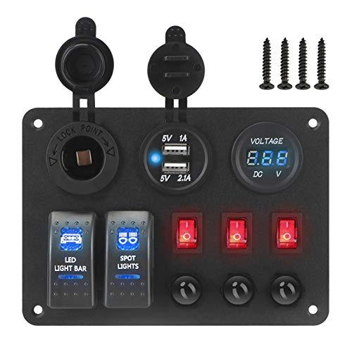 YINLONG Ajuste para EL VOLTÍTER Digital COCH Marine RV Circuito LED Breaker con Protector de sobrecarga Dual USB Puertos USB 2 + 3 Panel de interruptores de Rocker Gang (Color : Blue)