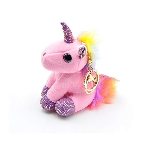 SLLX Lindos Juguetes de Peluche Kawaii Unicornio Bolsa Mochila Colgante Llavero Llavero Relleno Animales Niños Juguetes Regalo de cumpleaños Tiburón Plátano (Color : Pink Unicorn)