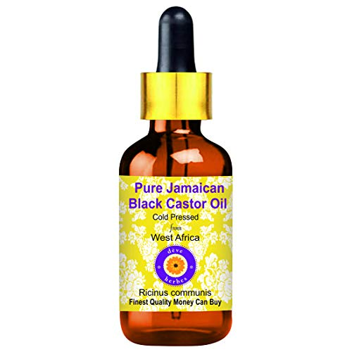 Deve Herbes Aceite de ricino negro jamaiquino puro (Ricinus communis) con cuentagotas de vidrio 100% natural de grado terapéutico prensado en frío para cuidado personal 30ml (1 oz)