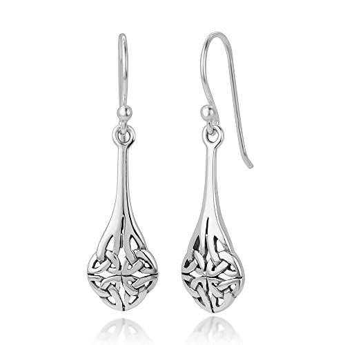 925 Oxidized Sterling Silver Bali Inspired Celtic Knot Long Teardrop Dangle Hook Earrings 1.4'