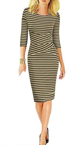 REPHYLLIS Women 3/4 Sleeve Striped Wear to Work Business Cocktail Party Pencil DressArmygreen XXL