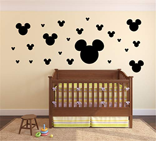 Vinyl Stickers Wall Home Decor Wall Decor Art Sticker Home Decals Nursery Rhyme Wall Decal Mickey Mouse Heads Vinyl Wall Decal Sticker for Nursery Kids Room
