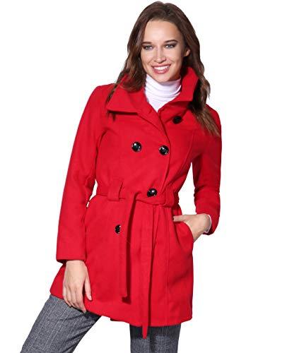 KRISP Abrigo Mujer Doble Abotonadura Paño Invierno Vestir Talla Grande, Rojo (5651), 44, 5651-RED-16