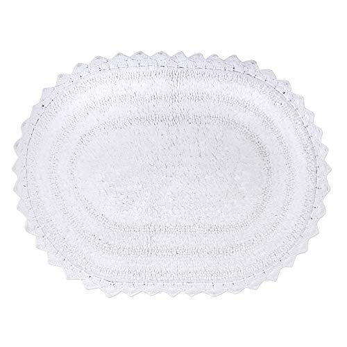 DII Crochet Collection Reversible Bath Mat, Large Oval, 21x34, White
