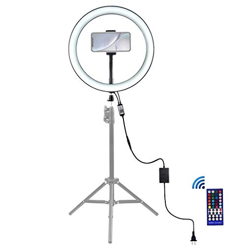 Makalon 2020 Ring Light 9 Inch with Phone Stand Cradle Head 8 Light Modes RGB LED Light Video (Black)