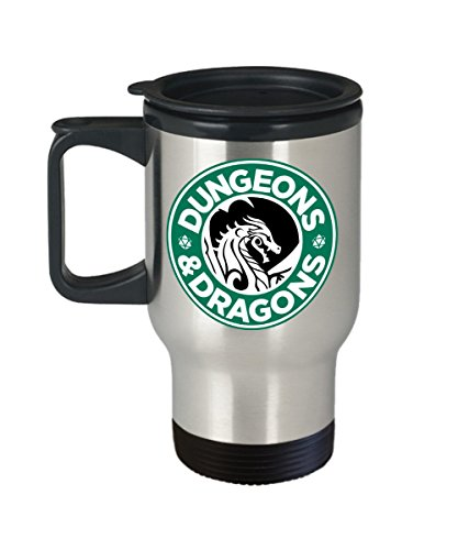 Dungeons and Dragons Coffee Logo Parody Metallic Travel Coffee Mug - Funny Gift Idea for Geeks and Nerds