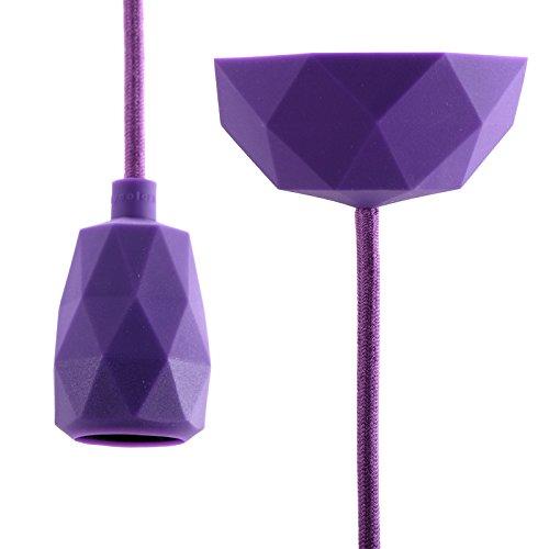 DESIGN DELIGHTS SUSPENSION TOUCH EN KIT minimaliste |3 m câble en Tissu, Violet | lampe tactile en kit, éclairage pour Le Salon