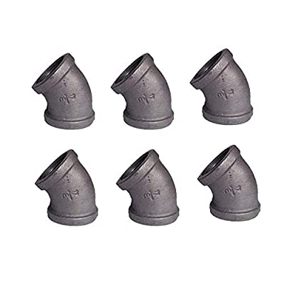 """GeilSpace 45-Degree-Elbow, Malleable Iron Pipe Fittings - Vintage DIY Industrial Shelving, Industrial Decor, Furniture DIY (3/4"""", Grey)"""