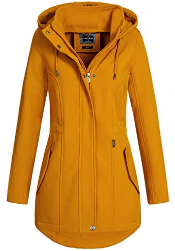 Eight2Nine Damen Softshelljacke LETN-041 Kurzmantel mit Kapuze Thai Curry (003) S