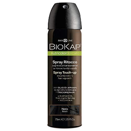 Bios Line BioKap Spray pour retouches de teinture, noir, pour recouvrir les racines en un instant, 75ml