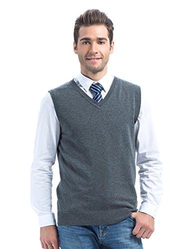 Choies Men's Dark Gray Sweater Vest Knit Acylic Winter V Neck Vest L