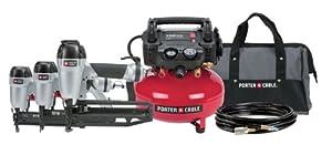 Porter-Cable PC3PAK Finish Nailer/Brad Nailer/Stapler Compressor Combo Kit from Porter-Cable