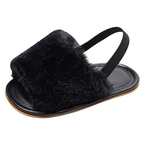 Kleinkind Schuhe für Kinder/Dorical Unisex Babyschuhe Jungen Mädchen Neugeborene Baby Brief Feste Flock Weiche Sandalen Slipper Freizeitschuhe Krabbelschuhe(Z03-Schwarz,19 EU)