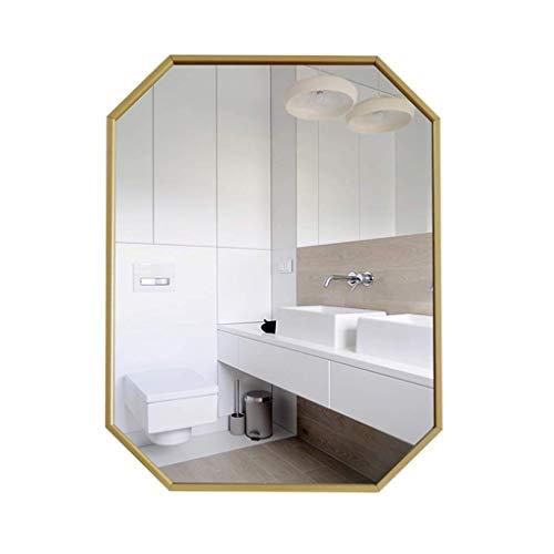 Household wandspiegel van smeedijzer, spiegel voor woonkamer, spiegel, polygon, wandspiegel, vierkant, spiegel 60*80CM Goud
