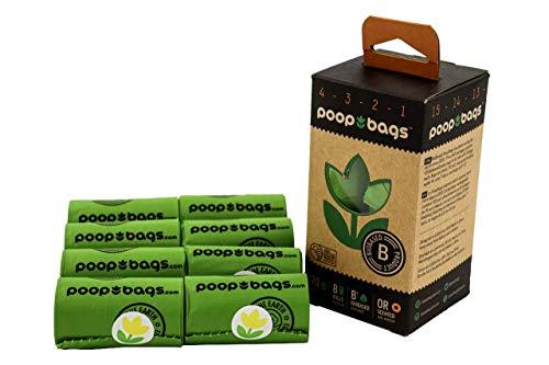 Poop Bags Sacs (Lot de 8), Orange parfumée, Vert