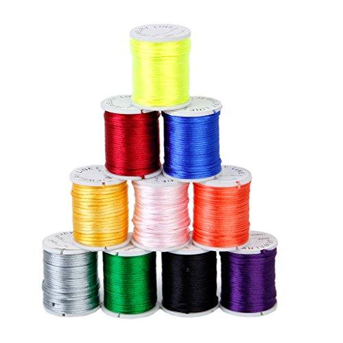 10 Rollos De Cuerda De Nylon Color Mezclado Thread Abalorios Para La Artesanía De Joyas 1mm
