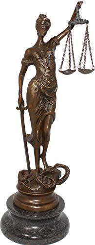 Antik 2000 Escultura de bronce de Justitia Diosa de la Justicia (hecha a mano)