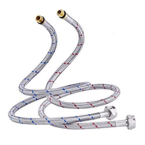 CREA G 3/8 DN6 Flexo conexión Flexible Manguera de Grifo, Mangueras de conexión para Grifo Agua fría y Caliente de acero inoxidable 50cm de largo (1 par)