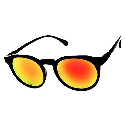 KISS Gafas de sol Mirrored mod. SLENDER - fashion Clásico REDONDO hombre mujer VINTAGE - NEGRO/Rojo