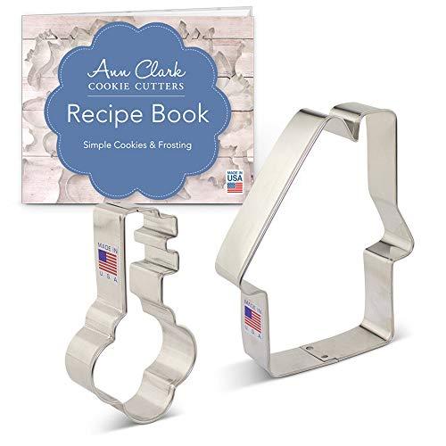 Set di formine per biscotti a tema immobiliare (2 pezzi) Ann Clark Cookie Cutters con ricettario, casa e chiave