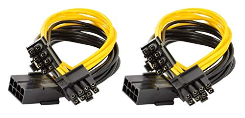 Haokiang 8-poliges PCI-E auf 2 PCI-E 8-polige (6-polig + 2-polig), Strom-Splitterkabel, PCI Express-Stromkabel, PC-GPU-Kabel für Grafikkarte, CPU-Mineral, 2 Stück 30,5 cm