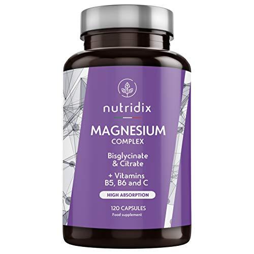 Magnesio Bisglicinato e Citrato 2145mg con 300 mg di Magnesio Puro Elementare per dose - Con vitamine B6, C e B5 - Fatica, stanchezza e funzione muscolare - 120 capsule Nutridix