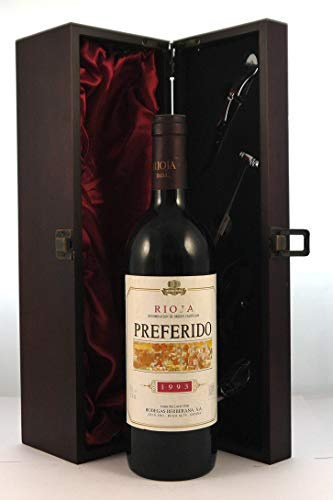Rioja Preferido 1993 Bodegas Berberana en una caja de regalo forrada de seda con cuatro accesorios de vino, 1 x 750ml