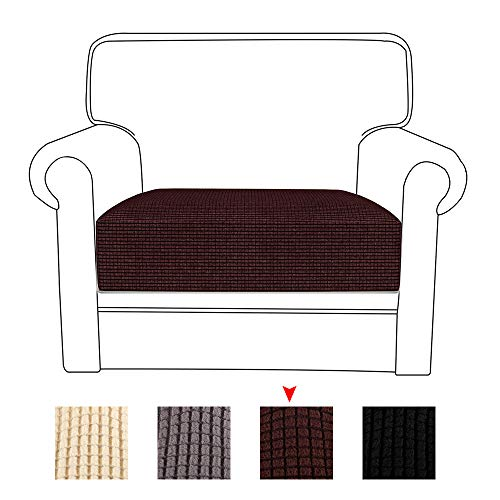 78Henstridge Sofa Cushion Cover Spandex Polyester Fabric Stretchy Couch Seat Covers Protector (Coffee, 1 Seat)