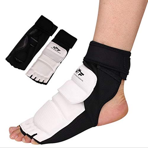 Runspeed Taekwondo Foot Protector Gear Training Martial Arts Fight Boxing Punch Bag Sparring Muay Thai Kung Fu Tae Kwon Do TKD Feet Support for Men Women Kids (White, Large)