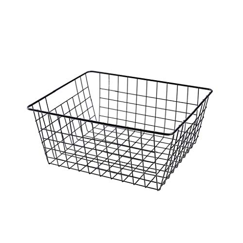 Cesta de almacenamiento de metal alambre de metal de la Alimentación del organizador del almacenaje con asas para Muebles de Cocina Despensa Baño Lavandería Negro S, Casa y jardín