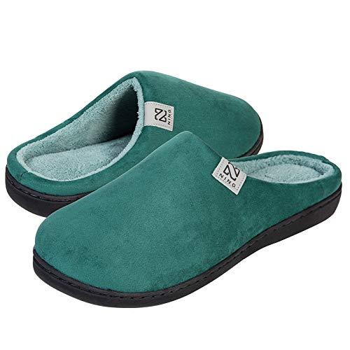 Zapatillas Hombre Mujer Invierno CáLido Zapatos Memory Foam Casa Antideslizante Pantuflas (Verde Oscuro, 42/43 EU)